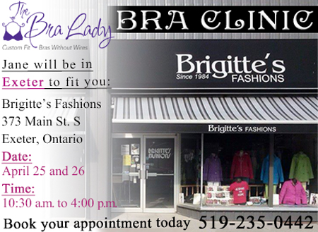 bridgittes fashions in Exter, the bra lady at Brigittes in Exeter ON